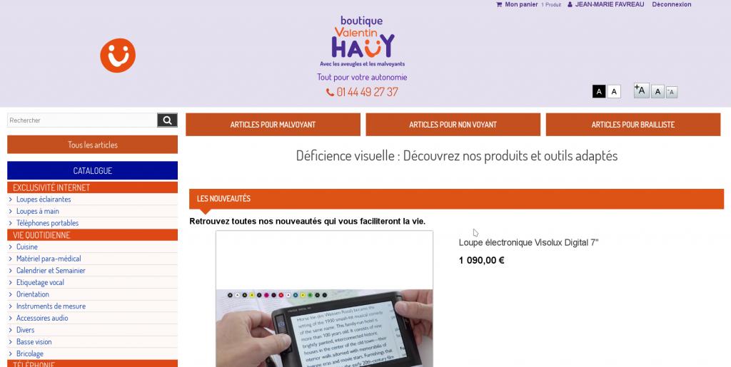 Capture d'écran du magasin en ligne de l'AVH